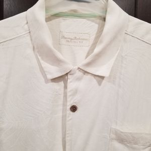 Tommy Bahama Cream Silk Shirt Size XL Textured